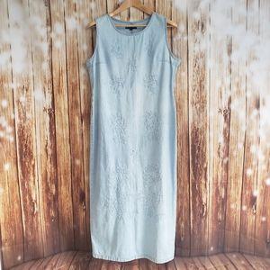 Vintage 90s Denim Maxi Dress Cottagecore 80s Jean